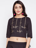 Cotton Poplin Hand Block Printed Crop Top