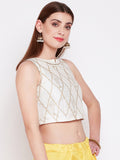 Dupion Hand Block Printed Crop Top