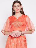 Organza Embroidered Bell Sleeves Crop Top