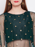 Net Sequins Embroidered Cape Top