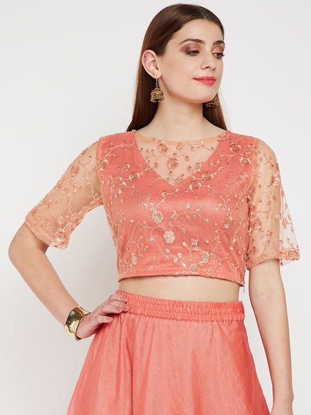 Net Floral Embroidered Sheer Neck Crop Top