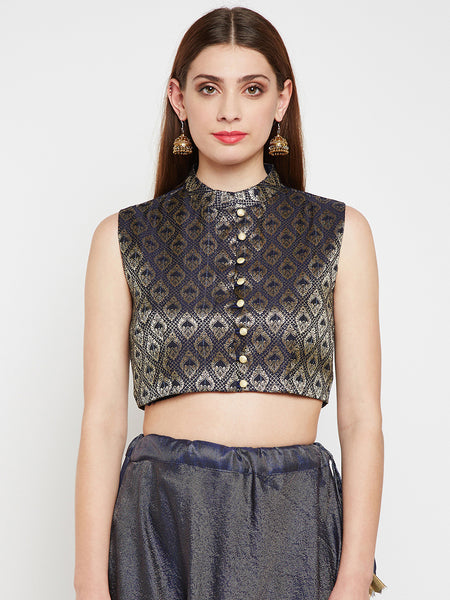 Faux Brocade Button Down Crop Top