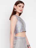 Dupion & Net Embellished Panelled Crop Top