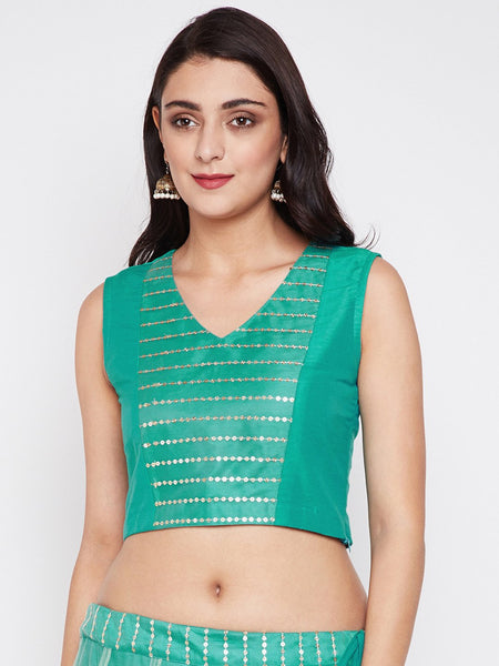 Cotton Silk & Net Embroidered Panelled Crop Top