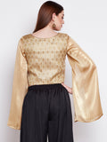 Faux Brocade Long Sleeve Crop Top