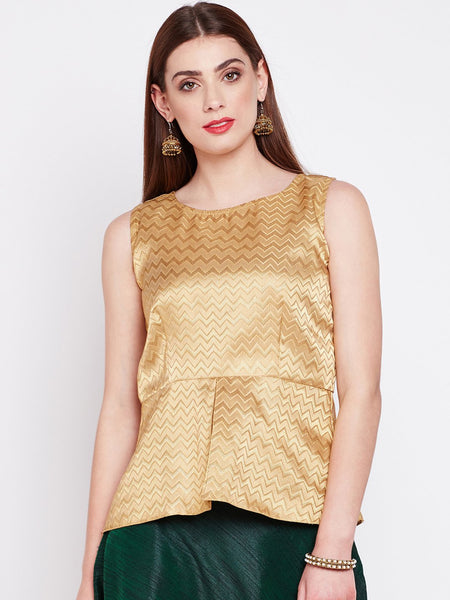 Faux Brocade Peplum Top