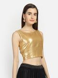 Georgette Sequin Embroidered Crop Top