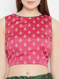 Silk Rubber Print Back Keyhole Crop Top