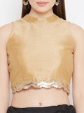 Dupion Sequin Embellished Crop Top
