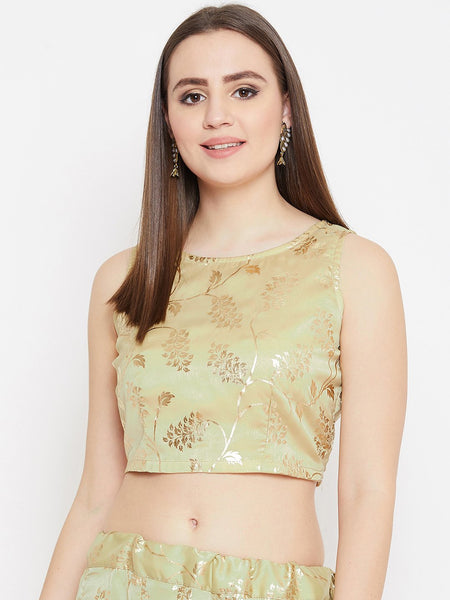 Georgette Satin Foil Printed Crop Top