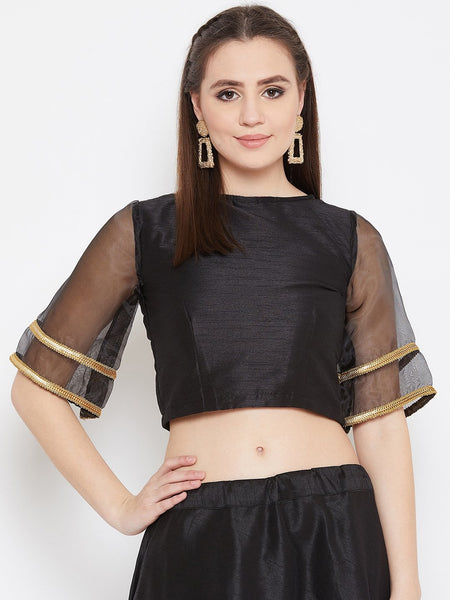 Dupion Bell Sleeves Embellished Crop Top
