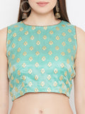 Tissue Rubber Printed Back Tie Crop Top