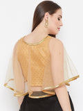 Net Pearl Embellished Brocade Cape Top