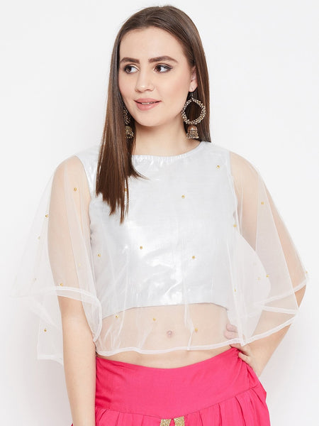 Net Pearl Embellished Cape Top