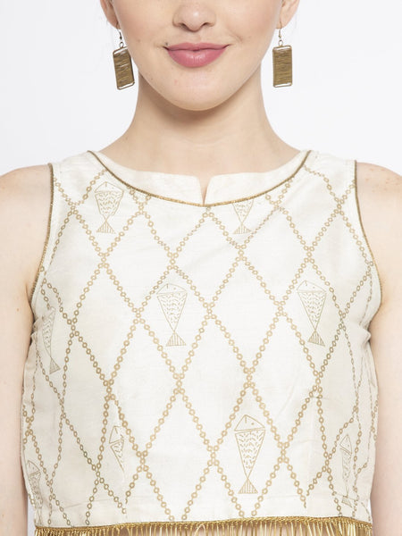 Dupion Block Printed Embellished Crop Top