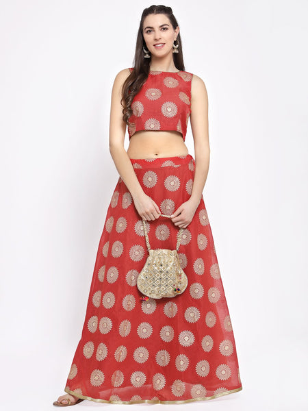Chanderi Foil Printed Crop Top