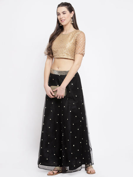 Net Gota Embroidered Crop Top