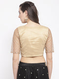 Dupion and Net Gota Embroidered Crop Top