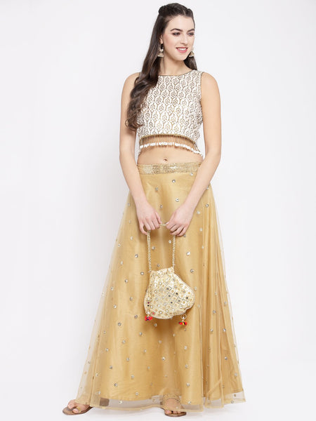 Bhagalpuri Block Printed Embellished Crop Top