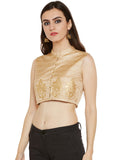 Bhagalpuri Dupion Block Printed Crop Top