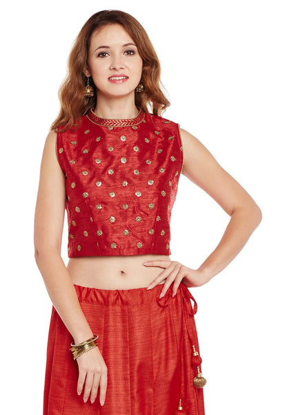 Embroidered Dupion Crop Top