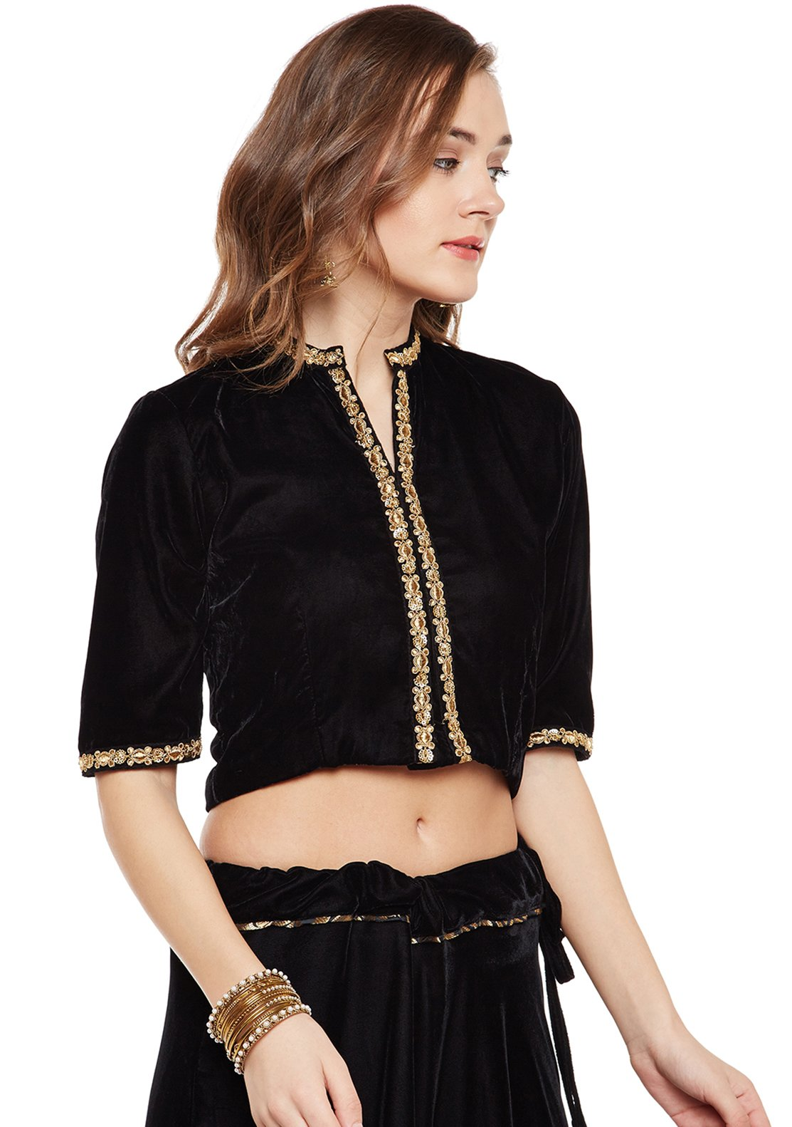 great discount sale get cheap top-rated original Velvet Embellished Crop Top