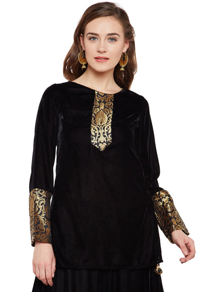 Velvet & Faux Brocade Tunic