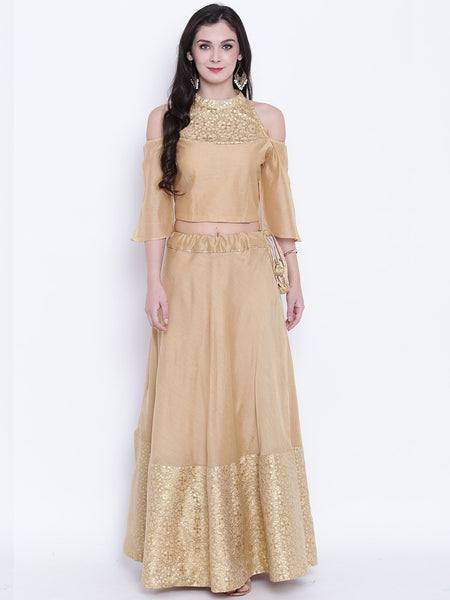 Faux Chanderi Brocade Crop Top