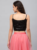Net Embroidered Spaghetti Crop Top