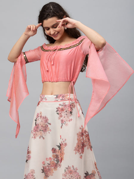Chanderi Embellished Off-shoulder Crop Top