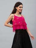Georgette Block Printed Layered Crop Top