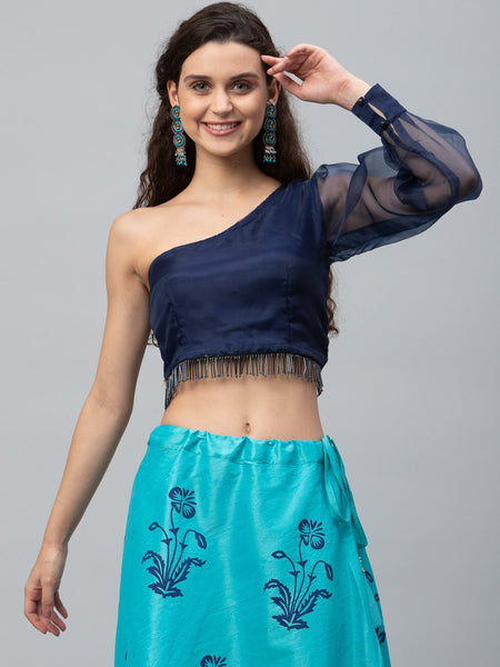 Organza Embellished One-Shoulder Crop Top