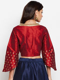 Semi-Dupion Embellished Angrakha Crop Top
