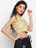 Semi-Dupion Embroidered Crop Top