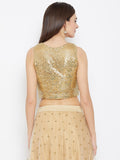 Net Sequins Embroidered Crop Top