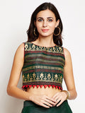 Semi Dupion Block Printed Crop Top