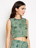 Organza Printed Embellished Crop Top
