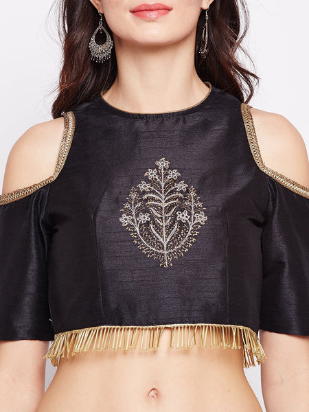 Semi-Dupion Embroidered Cold Shoulder Crop Top