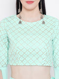 Net Foil and Crepe Crop Top