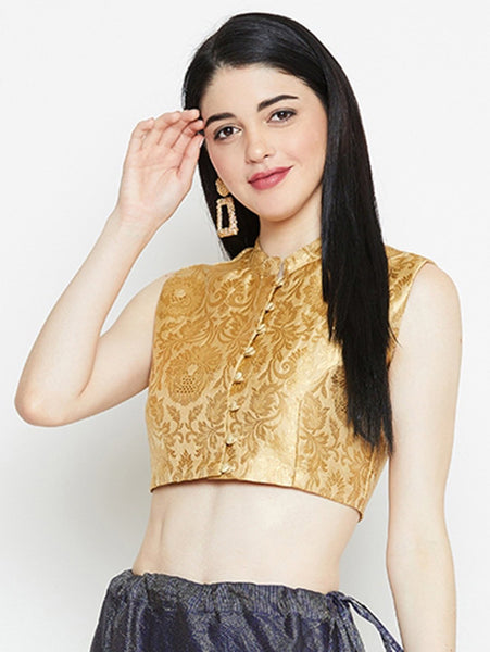Brocade Button Down Crop Top