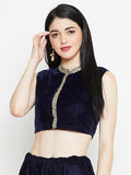 Velvet Embellished Crop Top