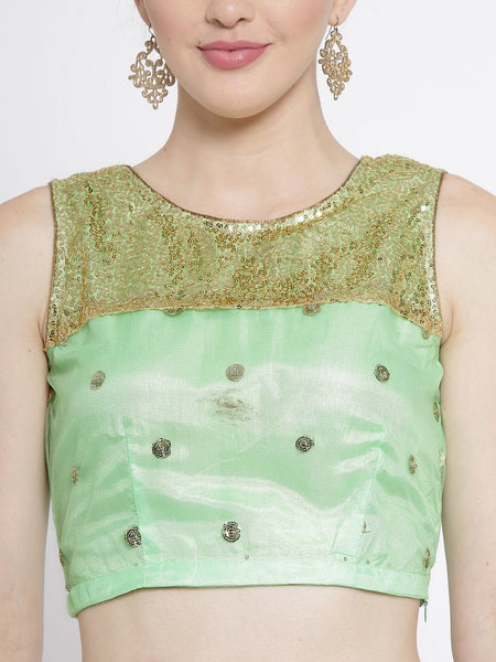 Net Sequins Embroidered Yoke Crop Top