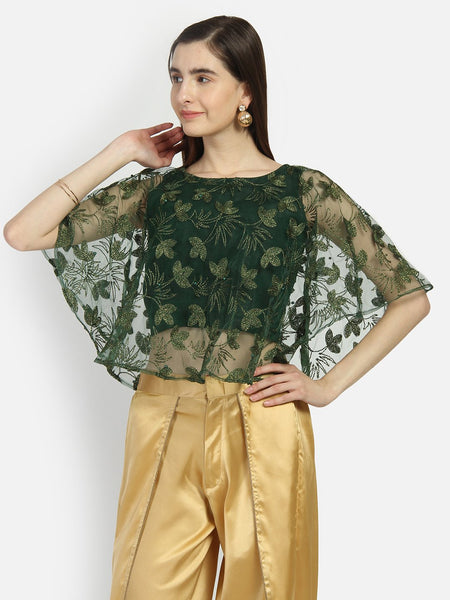 Net Floral Embroidered Cape Top