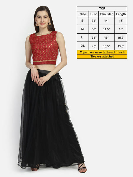 Dupion Embroidered Back Tie Crop Top