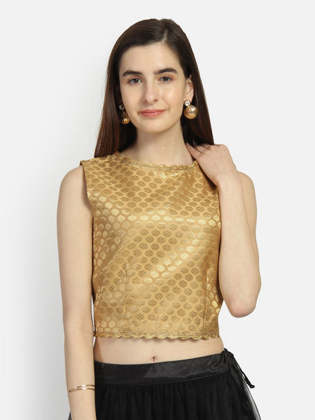 Faux Brocade Embellished Crop Top