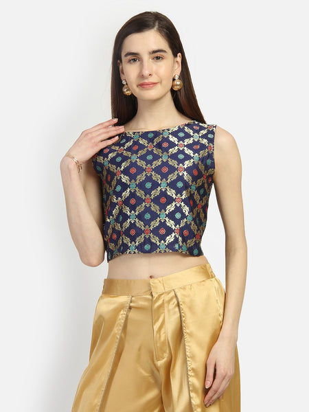 Faux Brocade Crop Top
