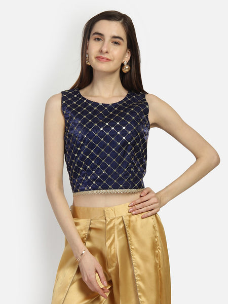Silk Embroidered Embellished Crop Top