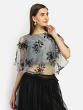 Net Sequin Embroidered Cape Top