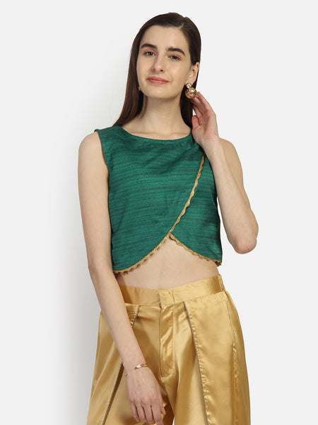 Bhagalpuri Overflap Embellished Crop Top