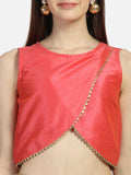 Dupion Overflap Embellished Crop Top